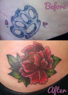 Peony Cover Up - Before and After