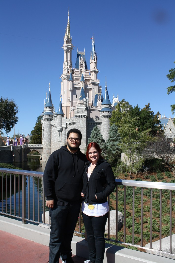 Us in front of Cinderella Castle.